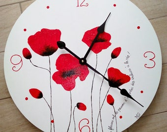 Wooden clock modern poppy red and white