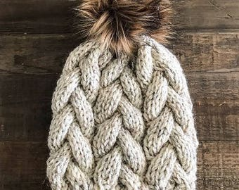 WOOL BRAID BEANIE // Knit Wool Beanie // with Brown Faux Fur Pom-Pom // 12 Colors Available