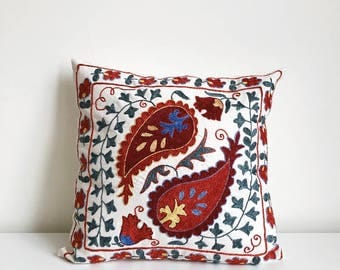 Suzani Pillow Cover,Silk Suzani Pillow, Embroidery Pillow