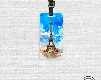 Luggage Tag Watercolor Paris Eiffel Tower Travel Luggage Tag Custom Info On Back Single Tag