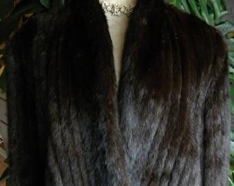 Fabulous rows of dark mink fur coat / jacket / real fur / women's fur coat /