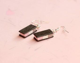 Miniature Ice Cream Sandwich Earrings, Miniature Food Jewelry