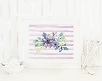 Purple Floral Printable Floral Nursery Wall Art Flower Print Lavender and Purple Nursery Decor Shabby Nursery Wall Decor Watercolor Flowers
