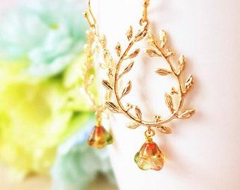 Bridesmaid Earrings, Gold Grecian Wedding Jewelry, Laurel Wreath Flower Dangle Earrings, Gold Garden Wedding Earrings, Bridesmaid Gift Ideas