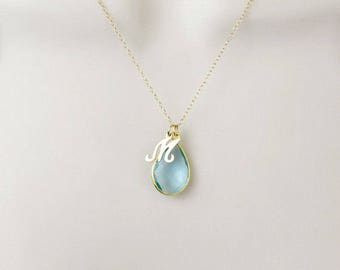 Gold Filled Birthstone Necklace, Gold Initial Necklace, Custom Birthstone Necklace, Aquamarine Necklace, March Birthstone Jewelry, Gemstone
