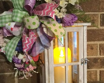 Lantern swag, spring lantern topper with bow and bright spring flowers. can be added to your lantern with ribbon bow.