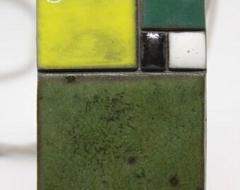 Yellow & Green Ceramic Pendant / Minimalistic Rectangular ceramic / Modern geometric jewelry