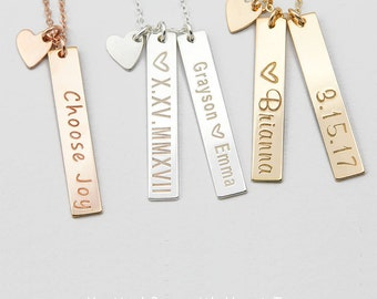 Vertical Gold Bar Necklace, Mother's Necklace, Kids Name, Gold Name Plate, Custom Initial Bar Necklace, Bridesmaid Gift V530