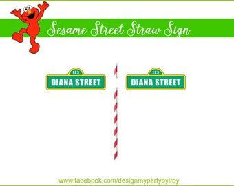 DIGITAL MINI SESAME Street Straw Signs Digital File, Sesame Street Party Printable,Sesame Street Signs,Sesame Street.