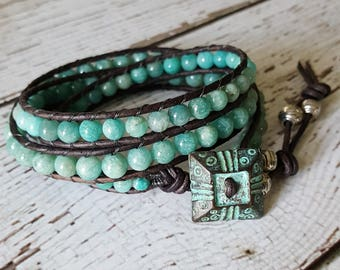 Amazonite Wrap Bracelet, Boho Bracelet, Charm Bracelet, Bohemian Jewelry, Amazonite Jewelry, Yoga Jewelry, x3 Beach Wrap Bracelet Beaded
