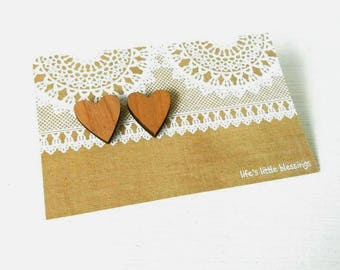 Wooden heart earrings | laser cut wooden hearts | surgical stainless steel posts and backs | wooden jjewellery