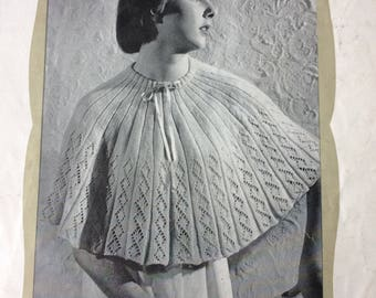 Vintage knitting pattern 1950's Target 1078 Circular bed cape 4 ply