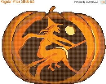 Pumpkin halloween Cross Stitch Pattern Pdf embroidery, needlepoint needlecraft - 128 x 98 stitches - INSTANT Download - B332