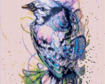 Watercolor bird Cross Stitch Pattern Watercolor pattern needlepoint needlecraft -138x189 stitches- INSTANT Download - B1111
