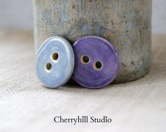 Ceramic Buttons, Round Buttons, Blue Button, Purple Button, Sew on Buttons, Embellishments, Haberdashery