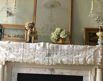 Antique 1880 Hand Embroidered Runner Linen French Side table , Mantelpiece Top,Lace Shabby chic decor, home decor, wabi sabi victorian trim