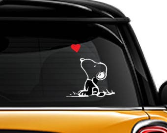 Snoopy Peanuts Gang, Snoopy Red Heart, FREE SHIPPING, Disney decor, home decor decal, sticker decal, Charlie Brown #229
