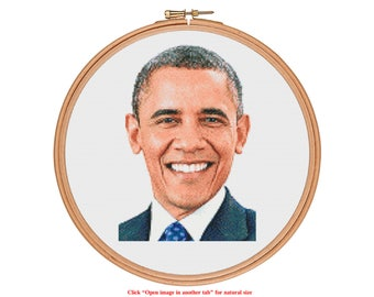 Barack Obama Cross Stitch Pattern - who is your idol? - Modern Cross Stitch Pattern PDF