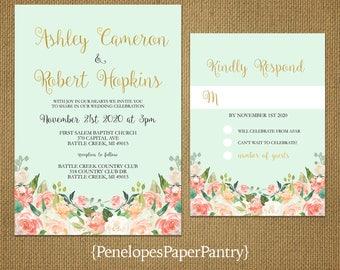 Romantic Mint Green Summer Wedding Invitation,Mint,Peach,Roses,Gold Print,Shimmery,Elegant,Shabby Chic,Custom,Printed Invitation,Wedding Set
