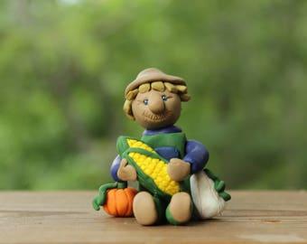 Harvest Scarecrow Figurine - Fall Décor - Autumn Decoration - Polymer Clay Figurine - Handmade Scarecrow Figurine - Hand Sculpted Figurine