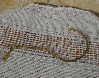 French vintage, single, curtain hold back in brass for large drape curtains.  Directoire style.