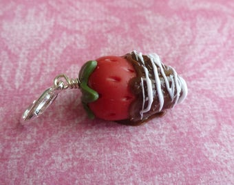 Chocolate Covered Strawberry Charm Miniature Food Jewelry Valentines Gift Polymer Clay Strawberry