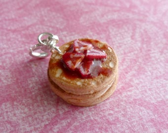 Strawberry Pancakes Miniature Food Jewelry Polymer Clay Charms Polymer Clay Pancakes