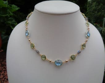 Gemstone chain, 585 gold filled, m. Blue Topaz, Labradorite and green amethyst