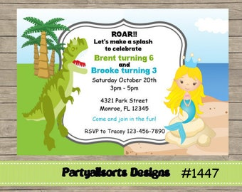 DIY - Dinosaur and Mermaid Joint Childrens Birthday Party Invitations