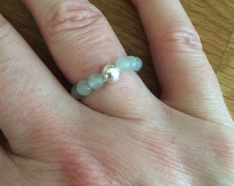 AQUA CHALCEDONY Sterling Silver STRETCH ring