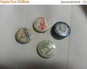 Summer Sale 4 Vintage Audubon and Botanic buttons