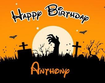 Birthday banner Personalized 4ft x 2 Halloween