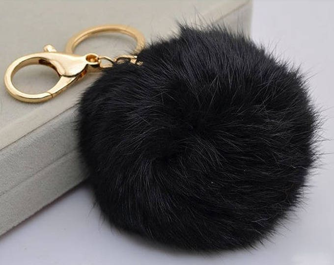 Black Cute Genuine Leather Rabbit fur pom pom keychain for car key ring Bag Charm