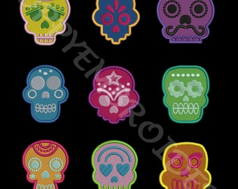 MEXICAN SKULL Design for Embroidery machine  / crane mexicain pour broderie machine / instant download