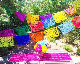 Mexican papel picado banner, tissue paper or plastic garland, fiesta party supplies, bunting decorations, colorful traditional LARGE banner