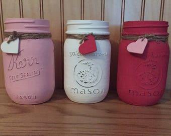 Valentines mason jar, Valentine's centerpiece