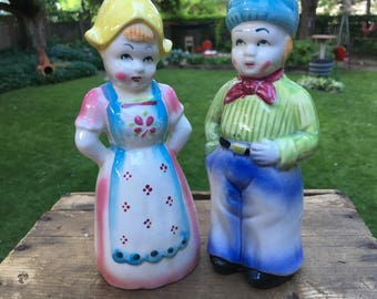 Dutch Boy and Girl Vintage Large Salt and Pepper Shakers