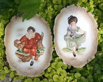 Vintage Lefton China Wall Plaque Decor Dancing Girl and Boy in Red on a Bench Hand Painted KW3777 Three Dimensional Victorian Wall Decor