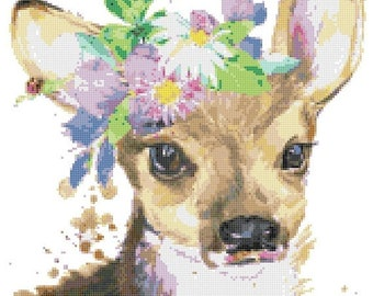 "Fawn deer Counted Cross Stitch watercolor Pattern chart point de croix needlepoint needlework -11.36"" x 14.07"" - L1503"