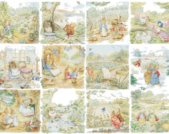 "twelve scenes with characters by potter - counted Cross Stitch Pattern needlepoint kreuzstitch - 31,29"" x 22.93""  - L1544"