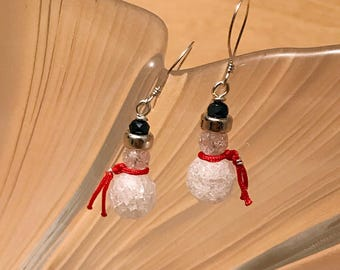 Cute snowman earrings handmade with crystal quartz and sterling silver beads.