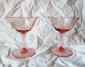 Pink Glassware, Pink Wine Glasses, Vintage Glassware, Depression Era Glassware, Pink Vintage Decor, Etched Wine Glasses, Pink Glass