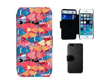 Wallet phone case iPhone X, 8, 7, 6S, 6, Plus, SE, 5S, 5C, 5, 4S, Samsung Galaxy wallet S8 S7 S6 Edge Plus, S4, S5 Mini, Fish Koi gift. F343