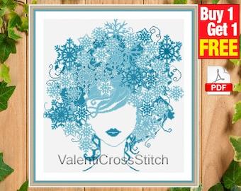 Modern Cross Stitch Pattern, Lady Winter Cross Stitch Pattern, Cross Stitch Chart , sp-181