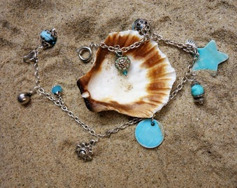 ANKLET chain: turquoise South Sea.