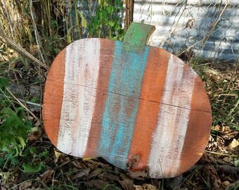 CLEARANCE** Rustic Barn Board Pumpkin, Colorful Rustic Pumpkin