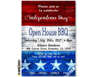 LABOR DAY BARBECUE Invitation, 4th of July, Fourth of July Invite Independence Patriotic Open House Bbq Rustic Wood Printable or Printed 324