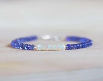 Tanzanite Bracelet with Welo Opal, Delicate Multi Gemstone Beaded Stacking Bracelet, Ethiopian Opal Jewelry, Sterling Silver Rose Gold Fill