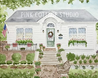 Custom home painting, Painting of home, Gift for parents, Gift for In laws, Watercolor house portrait, Personalized gift, Pink Cottage