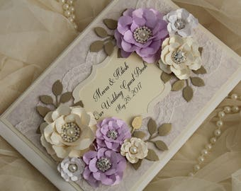 Lilac and gold wedding guest book, lace wedding guestbook, wedding decoration, personalised wedding gift, lilac wedding . purple and gold